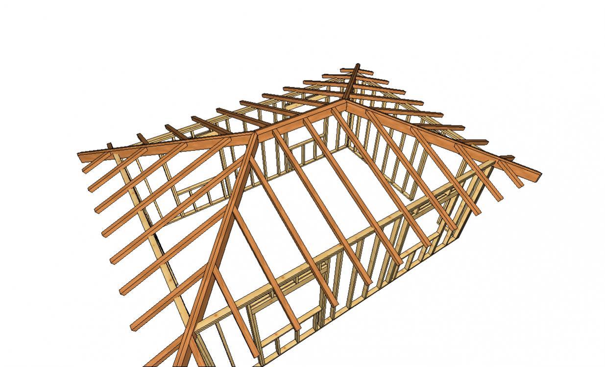 стропильная система для дома 11 м схема